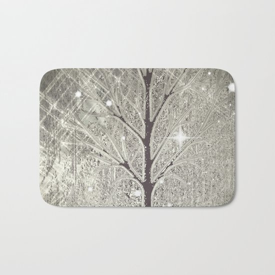 Winter sparkly night in black and white  Bath Mat