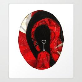 Oval Rose Poppy  Art Print
