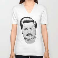 swanson V-neck T-shirts featuring Ron Swanson by 13 Styx