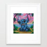 stitch Framed Art Prints featuring Stitch by spiderdave7