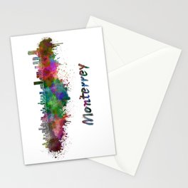 Monterrey skyline in watercolor Stationery Cards