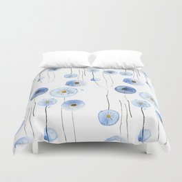 blue abstract dandelion 2 Duvet Cover