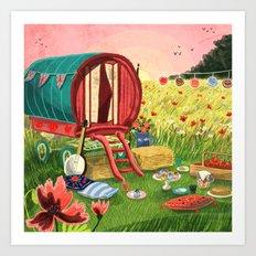 Gypsy Caravan at Sunset Art Print