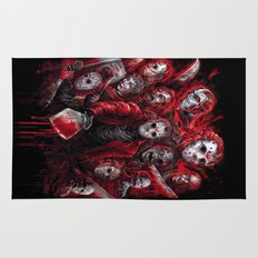 Jason Voorhees Friday the 13th Many faces of Rug