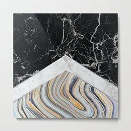 Arrows - Black Granite, White Marble & Blue Marble #182 Metal Print