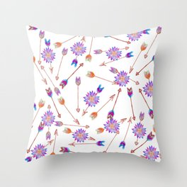 Boho Watercolor Hand Painted Flower and Arrows Throw Pillow