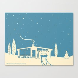 Mid-Century Snowscape in Blue Canvas Print