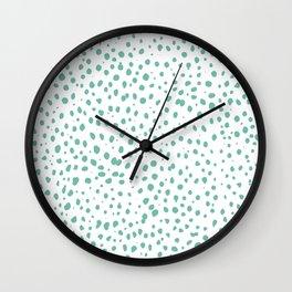 Dalmatian Green Minimal Spots - Polka Dots Wall Clock