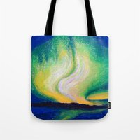 the lights Tote Bags featuring Lights  by Shazia Ahmad