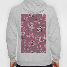 Modern hand painted pink gray watercolor roses Hoody
