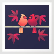 Northern Cardinals on a Japanese Maple Art Print