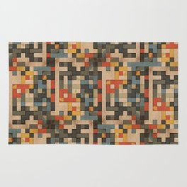 red, blue, and gold blocks Rug