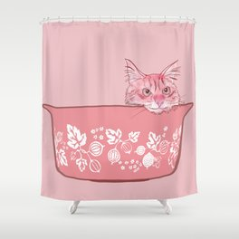 Cat in Bowl #1 Shower Curtain