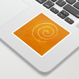 Infinity Bright Orange With Gold Abstract Modern Art Painting Sticker