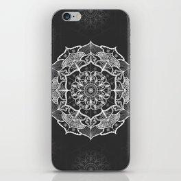 dark gray bw grey mandala pattern design iPhone Skin