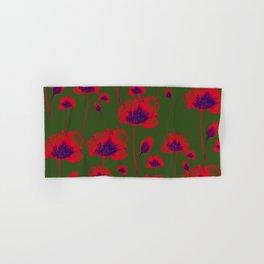 Delicate blooming subtle feminine fantasy bright fire red crimson flowers. Lovely glamorous classy elegant floral botanical plant dark green moody design. Hand & Bath Towel
