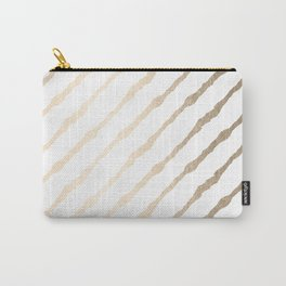 Simply Diagonal Stripes in White Gold Sands on White Carry-All Pouch