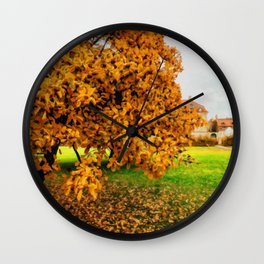 Realistic Painting of a Cloudy Autumn Day in King's Garden in Copenhagen, Denmark Wall Clock