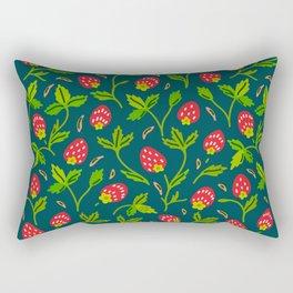 Strawberries Galore (pattern on Sea Blue-Green) Rectangular Pillow