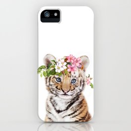 Tiger Cub with Flower Crown iPhone Case