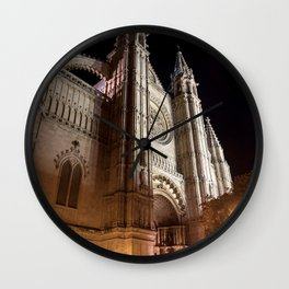 La Seu at night - Mallorca Wall Clock