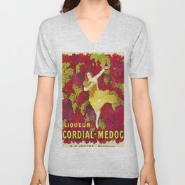 Vintage Italian Cordial Médoc Advertisement Poster by Leonetto Cappiello Unisex V-Neck