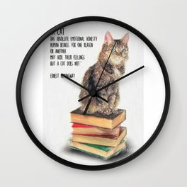 Cat Quote By Ernest Hemingway Wall Clock