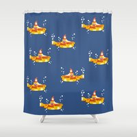 yellow submarine Shower Curtains featuring Fabric Yellow Submarine by AnnaCas