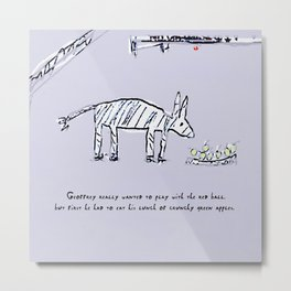 Geoffrey the Zebra-Donkey Cross Tucking into his Lunchtime Snack Metal Print