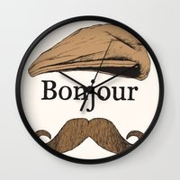 bonjour Wall Clocks featuring Bonjour by Jacob Waites