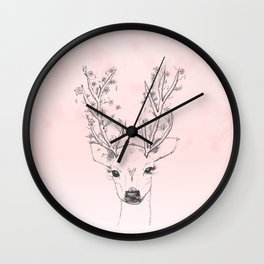 Cute handdrawn floral deer antlers pink watercolor Wall Clock