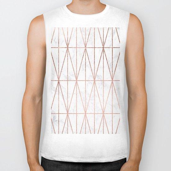 Modern geometric triangles faux rose gold pattern on white marble Biker Tank