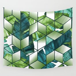 Tropical Cubic Effect Banana Leaves Design Wall Tapestry