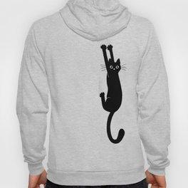 Black Cat Hanging On | Funny Cat Hoody