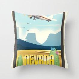 Nevada USA Desert poster. Throw Pillow