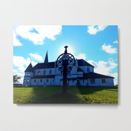 Old Church and Grave marker Metal Print