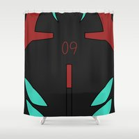 evangelion Shower Curtains featuring Rei Rebuild Black Plugsuit by Bunny Frost