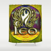 astrology Shower Curtains featuring Leo Zodiac Sign Astrology by CAP Artwork & Design