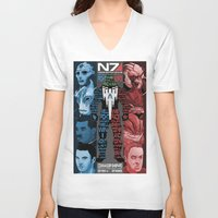 n7 V-neck T-shirts featuring N7: The Male Squad by Alex Rodway Illustration