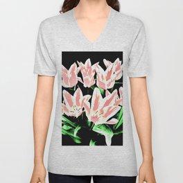 Rose White Tulpis on black Background Clipart Unisex V-Neck