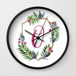Jungle Gold Monogram Crest O Wall Clock