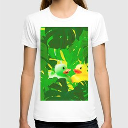 Small Rubber Ducks with Large Monstera Leaves #decor #society6 #buyart T-shirt