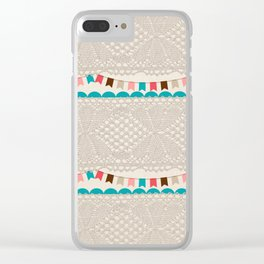 Vintage elegant ivory floral lace colorful flags pattern Clear iPhone Case