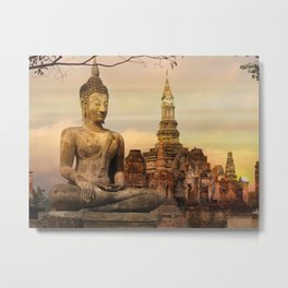 Meditating Buddha At Sunset Metal Print