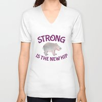 hippo V-neck T-shirts featuring Hippo Fitness by mailboxdisco