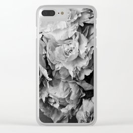 Peonies Black and White 1 Clear iPhone Case
