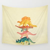 dinosaur Wall Tapestries featuring Dinosaur Antics by Cassia Beck