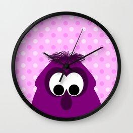 Silly Little Dark Pink Monster Wall Clock