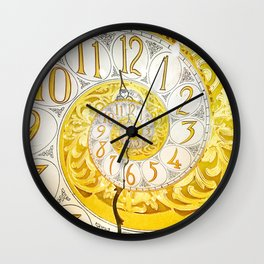 Traditional golden antique clock face with Roman numerals shown in a curved twisted abstract shape Wall Clock