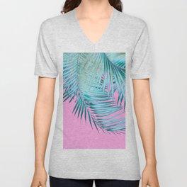 Palm Leaves Pink Blue Vibes #1 #tropical #decor #art #society6 Unisex V-Neck